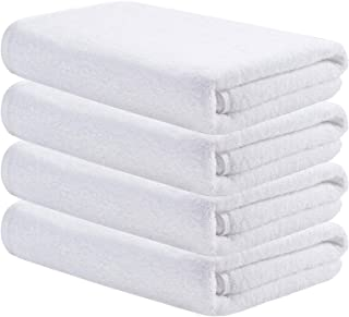 AmazerBath Bath Towels, Cotton Shower Towels, 500GSM Absorbent Soft Luxury Towels for Bathroom Hotel Spa Gym, 27x54 Inches White Towels, Set of 4