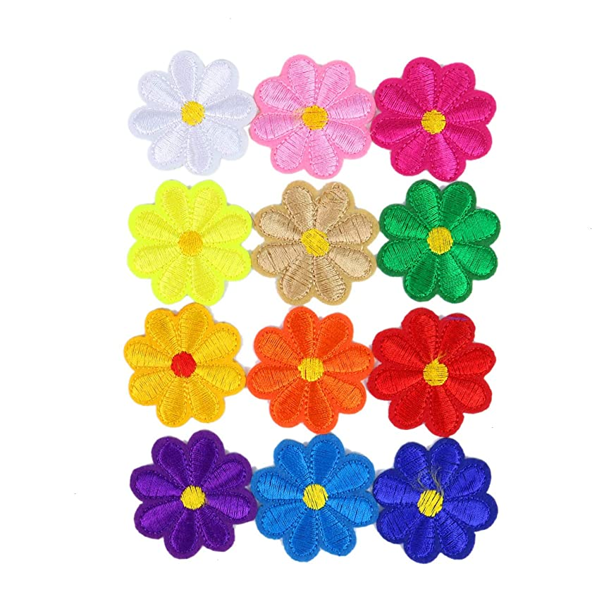 Monrocco 24 pcs Flowers Floral Embroidery Patches Iron On Patches Sew On Applique Patch for Clothes DIY Patches Sewing Accessories
