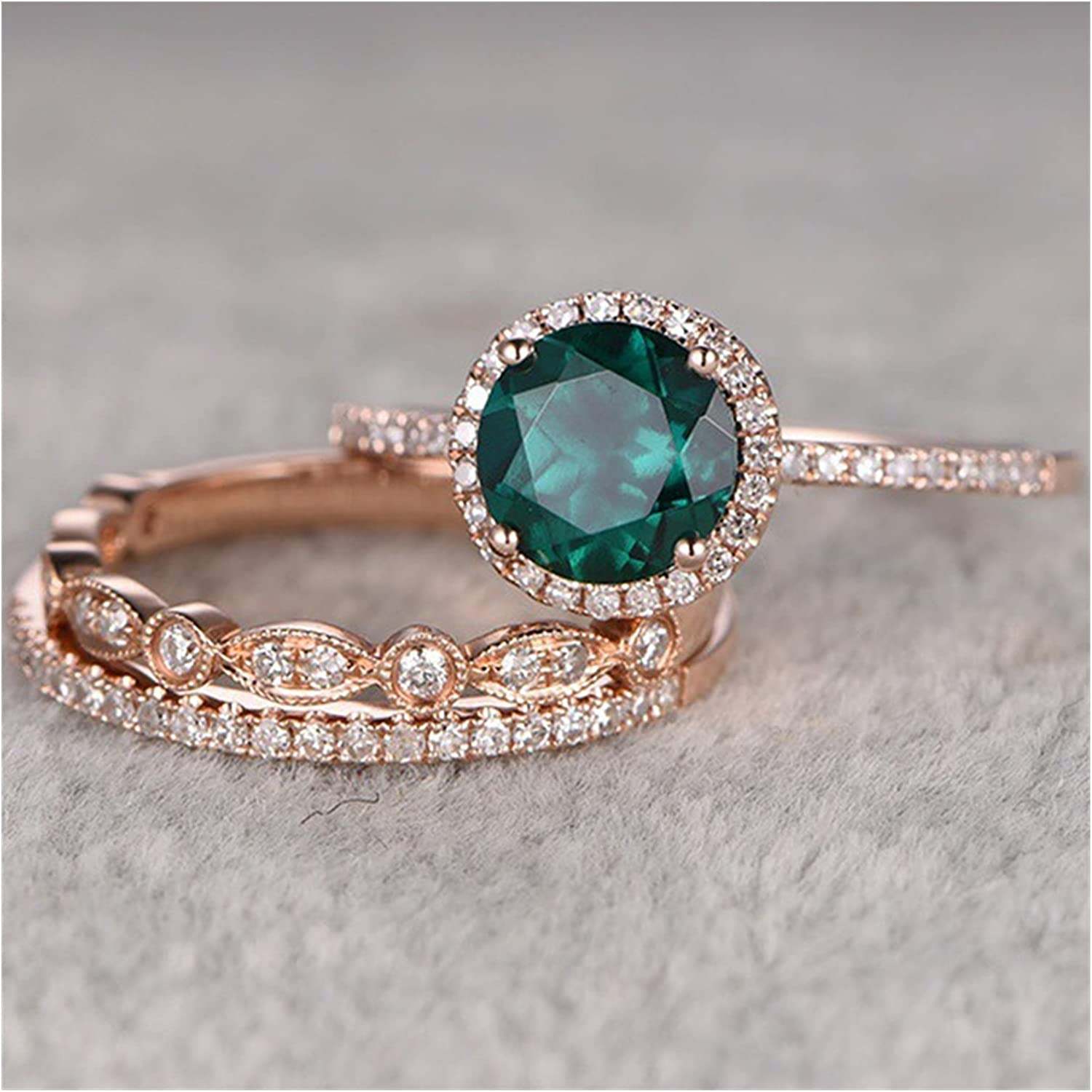Complete New popularity Free Shipping Ring 3 Pcs Set Ladies Luxury Rings Green Cubic Crystal Zirconia