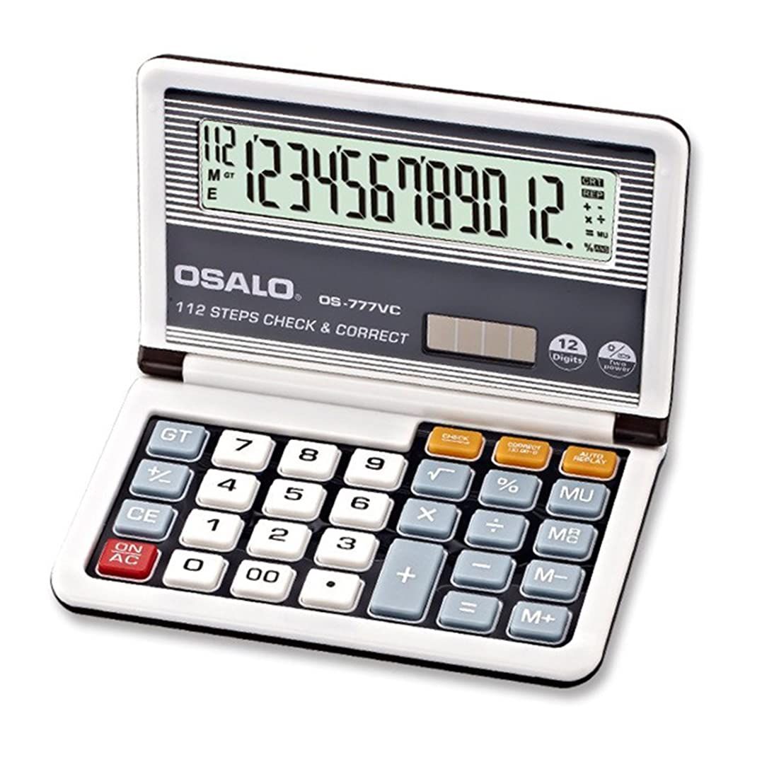 スポークスマン純粋な損なうAmyove 12桁表示 ソーラーバッテリー デュアルパワー電卓 ポータブル 折りたたみ式 ベーシック電卓