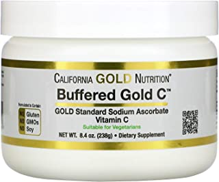 California Gold Nutrition Buffered Gold C, Non-Acidic Vitamin C Powder, Sodium Ascorbate, 8.40 oz (238 g)