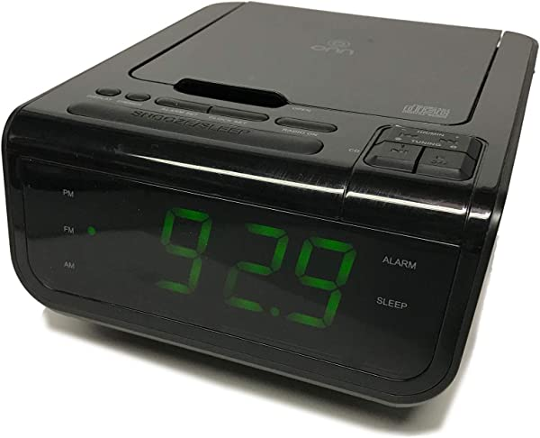 Onn ONA502 CD AM FM Alarm Clock Radio With Digital Tuning Alarm With And USB Port To Charge Devices Large 1 2 Inch Green LED Display Aux In Jack Top Loading CD Player Refurbished