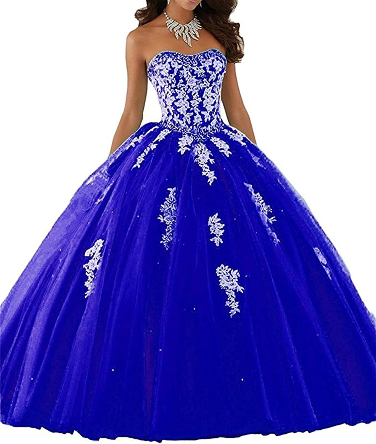 XYHDTQ Women's Applique Floor Length Beaded Tulle Ball Gown Quinceanera Dress Prom Dresses