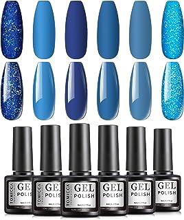 TOMICCA Gel Nail Polish Set Blue Jean Baby Collection Classic Blue Glitter Soak Off UV Gel Polish Nail Art Manicure Kit