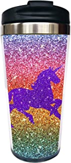 Waldeal Sequin Unicorn Travel Coffee Mug with Flip Lid, Stainless Steel Vacuum Insulated Tumbler Cup 15 OZ, Funny Mug for Kids Men Women