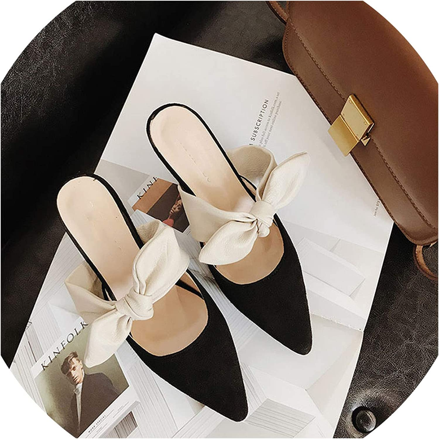 Women 5Cm Platform Pointed Toe Bowknot Slippers shoes Comfortable Casual Female shoes Woman Flock