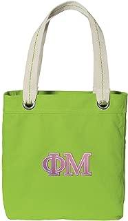 Broad Bay Phi Mu Tote Bag Rich Dye Washed Cotton Canvas Fashion Lime
