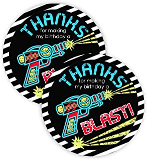 POP parties Laser Tag Party Favor Stickers - 40 Favor Bag Stickers - Laser Tag Thank You Tag - Laser Tag Party Supplies - Laser Tag Party Decorations
