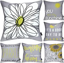 Faylapa 6 Pack Decorative Pillow Cases,Yellow On Grey Cushion Case Outdoor Shell Cusion Cover for Home Decoration Sofa 18×...