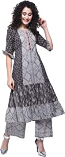 Zoeyams Womens Multicolored Cotton Printed Long Anarkali Kurti With Cotton Palazzo