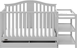 gray crib with changing table