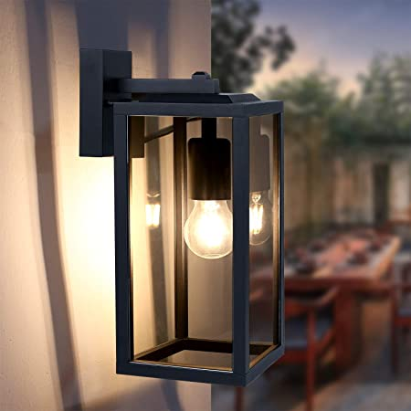 HLFVLITE Outdoor Wall Light, Max 60W E27 Aluminum Outside Wall Lamp, IP44 Waterproof Exterior Wall Lantern for Porch Entryway Doorway Garage, Matte Black