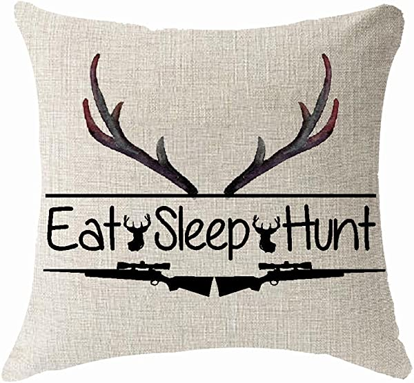 Nordic Watercolor Flower Animal Deer Head Eat Sleep Shotgun Hunt Throw Pillow Cover Cushion Case Cotton Linen Material Decorative 18 X18 Square 18X18 Inches 3