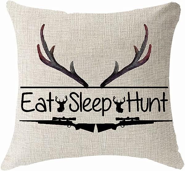 北欧水彩花动物鹿头吃饭睡觉猎枪打猎抱枕套靠垫套棉麻材质装饰 18x18 方形 18x18 英寸 3