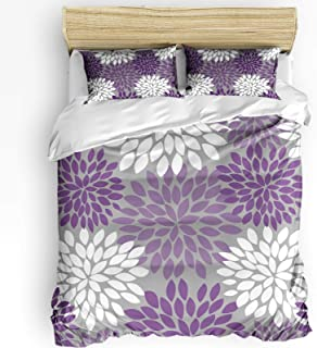 Infinidesign 3 Pcs Dahlia Duvet Cover Set with Zipper Closure, Washed Microfiber Polyester Bedding Blooming Petals Flower ...