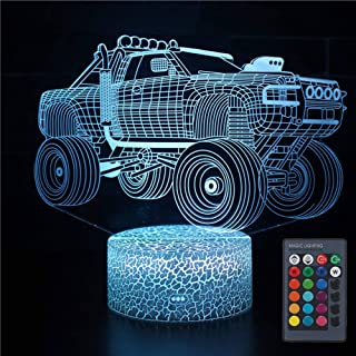 VANSIHO 3D Illusion Monster Truck Lamp Optical LED Car Night Light 7 Color Changing Desk Lamp, Christmas Birthday Gift for Kids with Remote (Car)