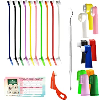 The Ultimate Dog Toothbrush Kit, 24-Pack, Pet Cat Toothbrush, Small Dog Cat Finger Toothbrush, Large Breed Care Tooth Brush, Complete Dental Kit for Pets, Pet Dental Schedule Included
