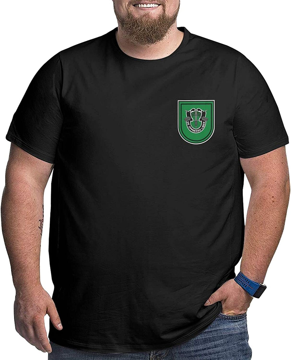 U S Army Flash 10th Special Forces Group Man's Simple Big Size Summer Outdoor Short Sleeve Round Collar Tee