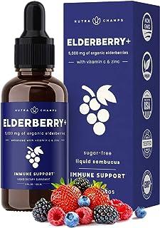 Sponsored Ad - Organic Elderberry Syrup [5000mg Strength] Plus Zinc & Vitamin C Liquid Extract for Kids & Adults - Immune ...
