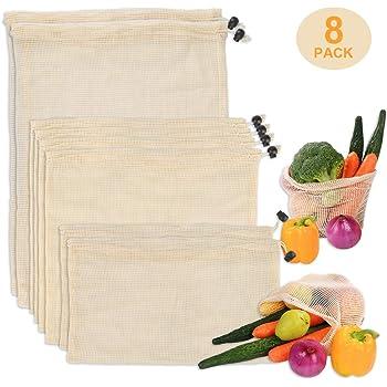 Zorara Bolsa Reutilizable Algodon, 8 Pcs Bolsas Alimentos Reutilizables, Bolsa de Malla Lavable con Cordón, Bolsas de Comida para Fruta, Vegetales y Juguetes: Amazon.es: Hogar