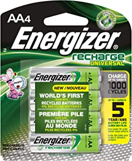 Energizer Rechargeable AA Batteries, NiMH, 2000 mAh, Pre-Charged, 4 count (Recharge Universal) (Renewed)
