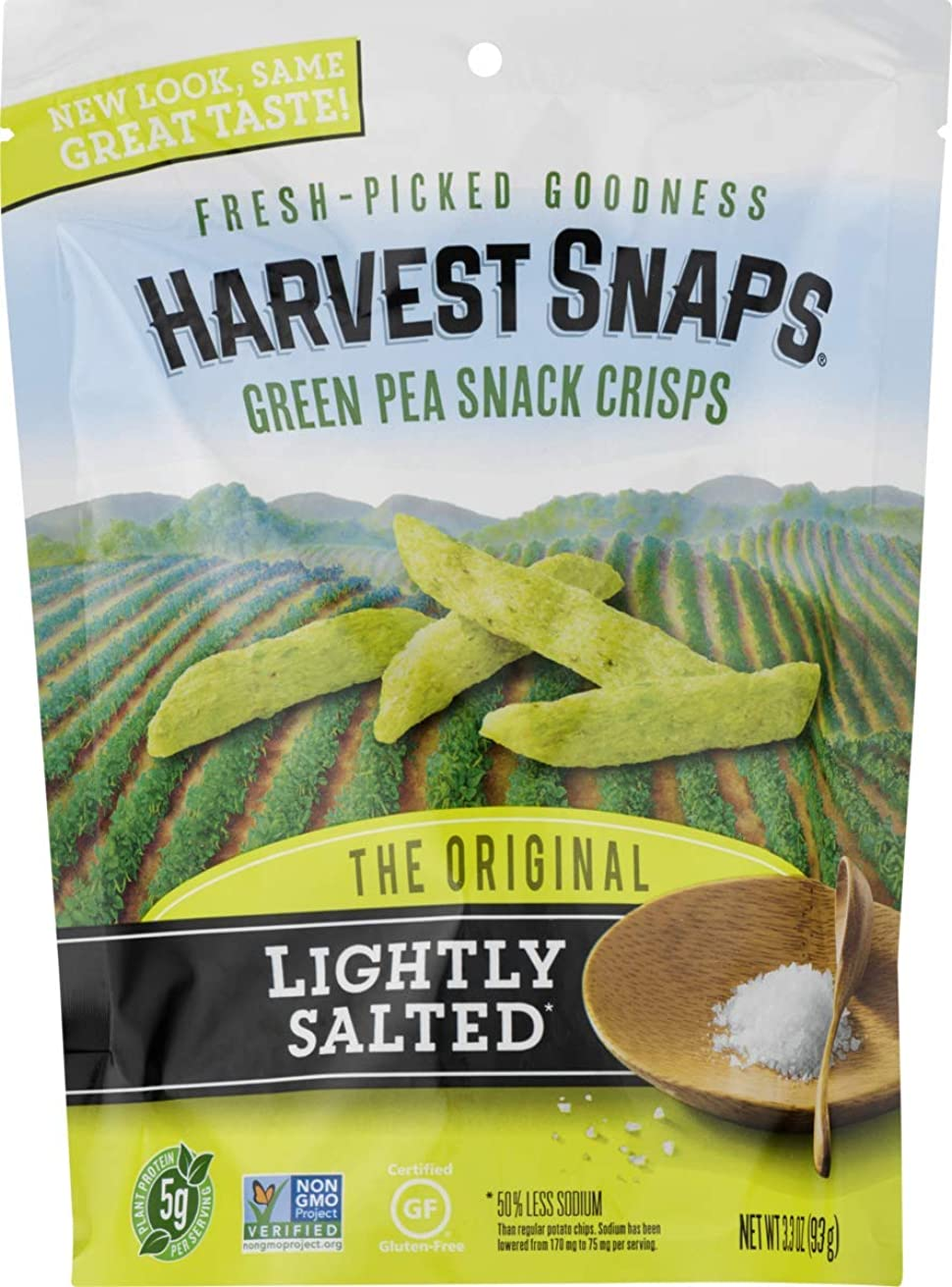 Harvest Snaps Green Pea Snack Crisps, Lightly Salted, 3oz/3Count, Gluten-Free, Baked & Crunchy Vegetarian Snack With Plant Protein & Fiber, 3Count