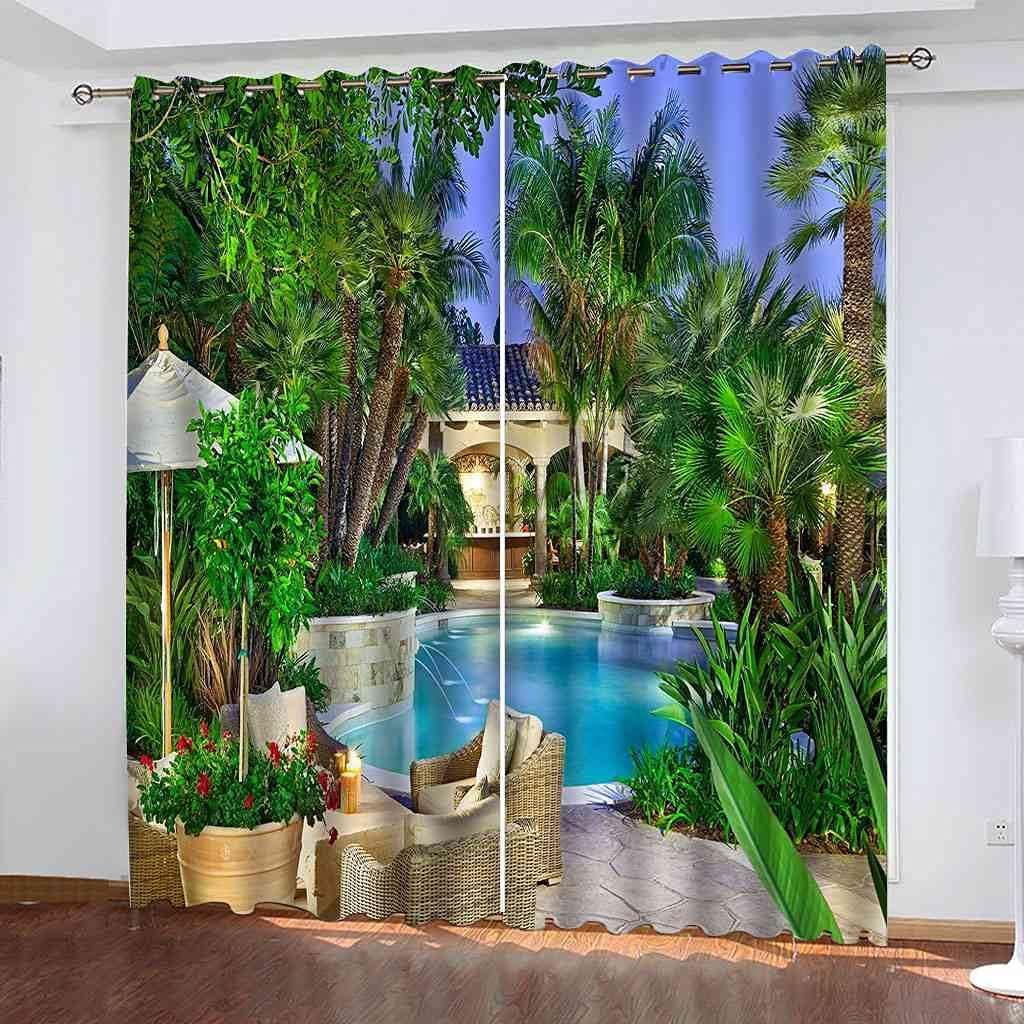 GXLOGA Blackout Grommet Curtains for Bedroom Garden Villa View W