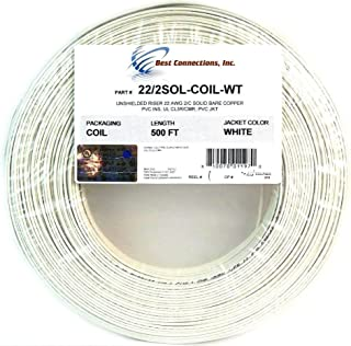 Alarm Wire 22 Gauge 500' Solid Copper Security Cable White UL Listed Low Voltage