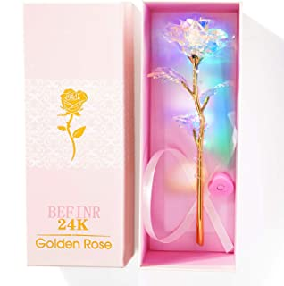 BEFINR 24K Colorful Luminous Rose Artificial LED Light Flower Unique Gifts Mother's Day Thanksgiving Valentine's Day Girl's Birthday Party, Best Gifts for Wife Girl Friend Women