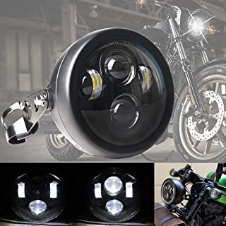 DDUOO Black 5-3/4inch LED Motorcycle Headlight with Headlight Bucket for Cafe Racer Triumph Bobber Kawasaki Honda Shadow 750 vlx 600
