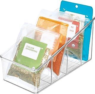 iDesign boîte de rangement à 4 compartiments, grand bac plastique pour aliments emballés ou épices, bac alimentaire, trans...