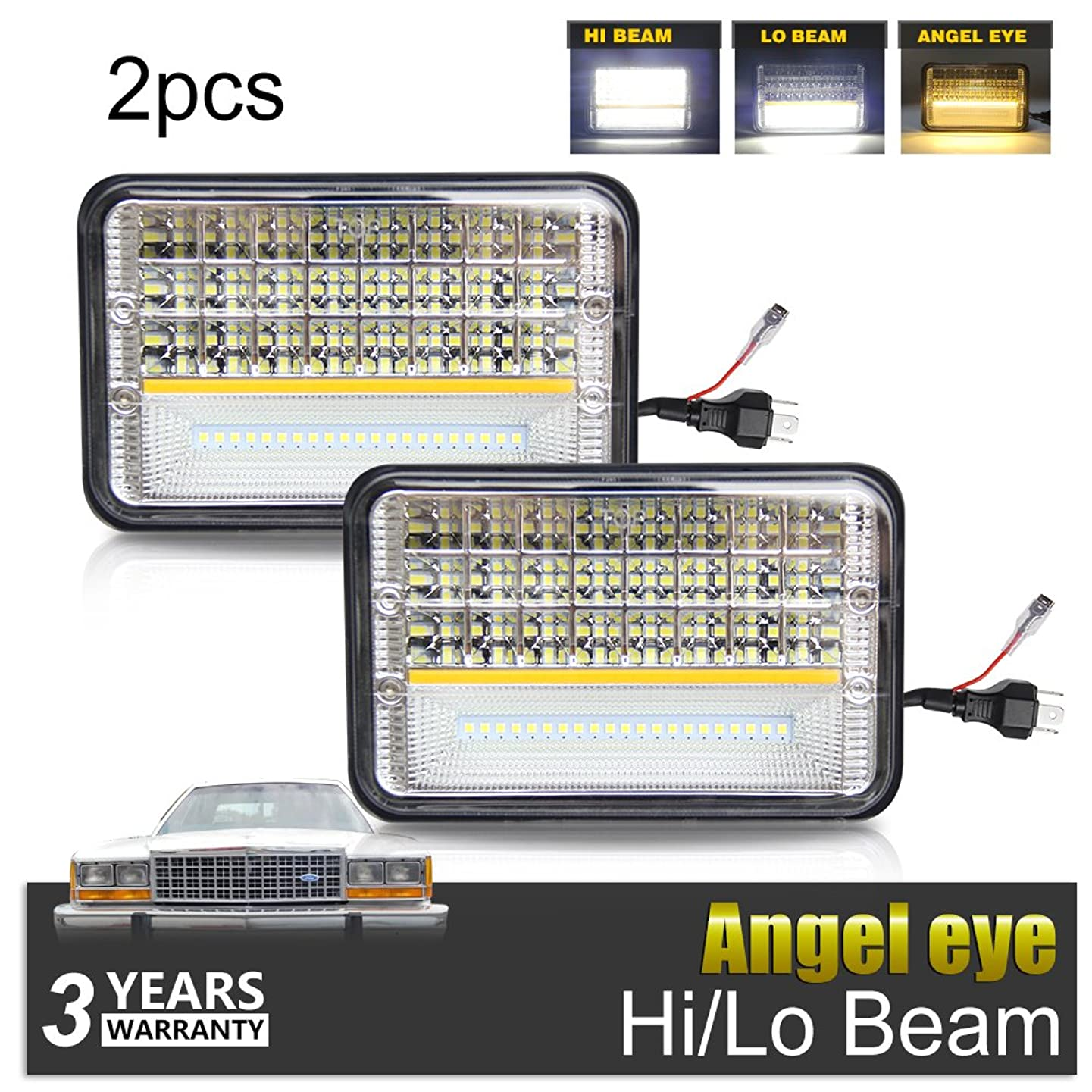 LED Rectangular Headlight 4x6 inch Projector 2PCS Sealed Beam Replacement Hi/Lo Beam DRL Fits Headlamp Bulb for Kenworth Freightliner, 1002A-Y-2pcs, Colight
