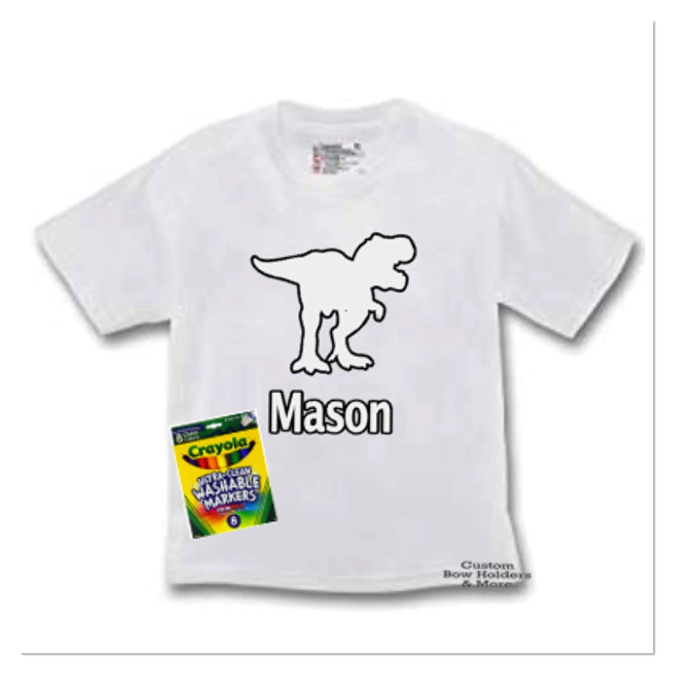 Coloring Tee Shirt, Personalized Dinosaur Color Me Tee Shirt, Washable Marker Tee, Toddler To Preteen Sizes Available - Washable Markers Included Free, Birthday Party Favors, Any Name