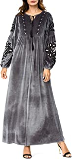 Ladies Dresses Women's Dress Velvet Lantern Sleeve Embroidered Elegant Maxi Dress Casual