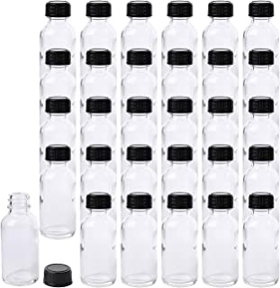 Bekith 30 Pack Boston Round Glass Bottle with Black Cap, 1 oz Capacity, Clear