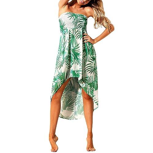 56ac7694a4fbc Lrud Women Summer Tropical Leaf Print Bandeau Beach Dress Skirt Bikini Cove  UP Green