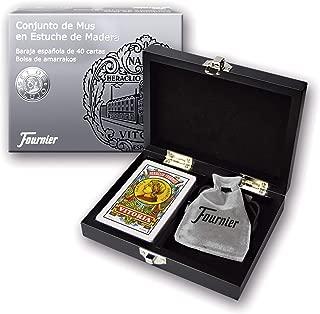 Fournier- Conjunto de Regalo Caja Madera de Mus Baraja y Amarracos, Color Negro (F43413)