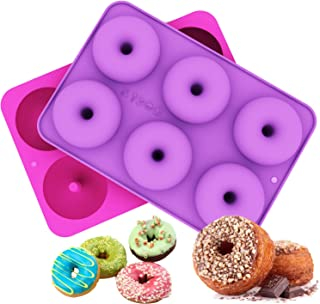 Ozera 2-Pack Donut Baking Pan, Non-Stick Donut Mold, Silicone Baking Molds for Donuts, Easy to Bake Full Size Perfect Shaped Doughnuts