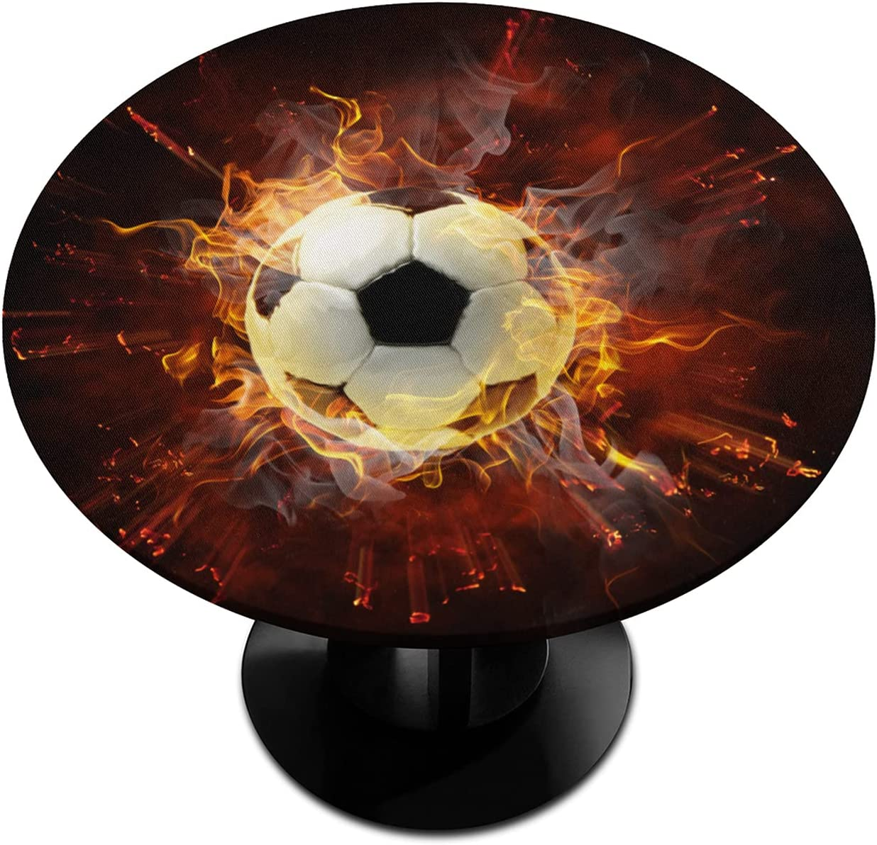 Round Special price for a Brand Cheap Sale Venue limited time Fitted Tablecloth with Elastic Print Edged Fire Football