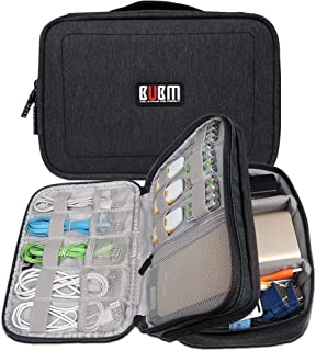 """BUBM Travel Nylon Shockproof Double Layer Electronic Accessory Organizer Travel Gadget Cable Power Adapter Carrying Bag (7.9"""", Black)"""