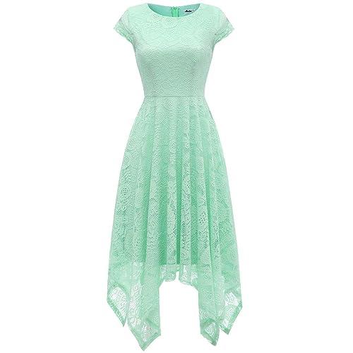 85256803c88 AONOUR Women s Floral Lace Cap Sleeve Handkerchief Hem Cocktail Party Swing  Dress