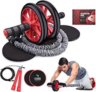 Kamileo Ab Roller Wheel, 4-in-1 Ab Roller Kit with Knee Pad, Resistance Bands, Jump Rope, Core Sliders, Perfect Home Gym Equipment for Abdominal Exercise