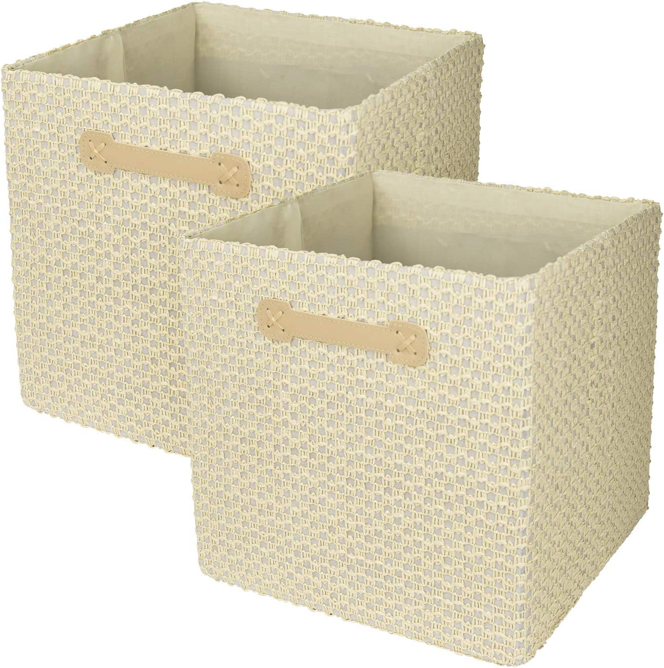Cesta almacenaje, juego de cajas de almacenaje, cesta toallas baño, organizador armario, 33 * 33cm, Beige, Set 2