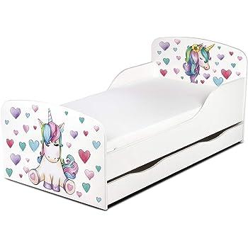 Moderne Lit d'enfant Toddler avec Matelas Couleur Blanc Dimensions 140x70 Chambre pour Les Enfants Meubles pour Enfants Confortable Fonctionnel Lit Simple avec Un Tiroir Unicorn Licorne