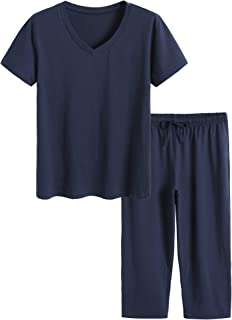 Latuza Women's Cotton Pajamas Set Tops and Capri Pants Sleepwear