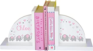 MyBambino Children's Personalized Elephant Bookends - Pink & Gray