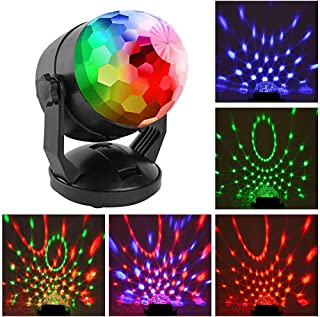 Mini Sound Activated Party Lights Battery Powered/USB Portable RGB Disco Ball Light Dj Lighting Strobe Lamp 7 Modes Stage Par Light for Car Home Room Dance Parties Birthday Karaoke Club Wedding