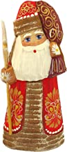 Religious Gifts Wooden Russian Santa Claus Christmas Figurine Hand Carved Hand Painted 6 1/2 Inch
