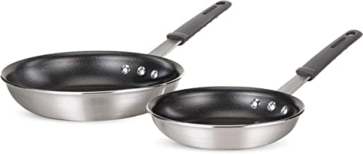 "Tramontina Pro-Line Aluminum Nonstick Restaurant Fry Pan Set, 8"" and 10"", NSF-Certified, Made in Brazil, 2-Piece, Satin"