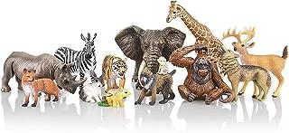TOYMANY 12PCS Realistic Jungle Animal Figurines, 2-6